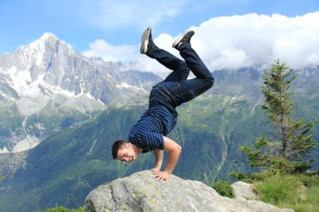 My brother doing a handstand in the French Alps