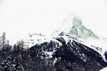 Mysterious and snowy, the Matterhorn almost disappears in a storm.