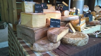 Cheese ready to sell and sample in a Swiss market (taken on phone)