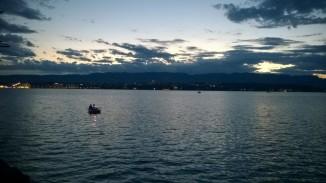View of Lake Geneva at sunset (taken on phone)