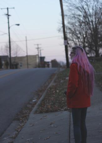 Shannon on a street