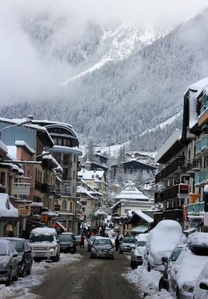 The city of Chamonix after it finally snowed!